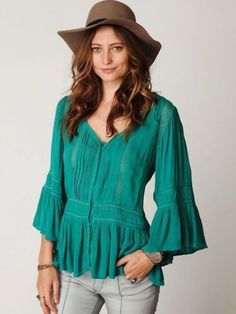 130498 NEW Free People Lace Button Down Victorian Inset Green Blouse Top XS #FreePeople #Top #Casual