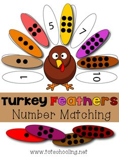 FREE turkey themed number and counting matching game. Great Thanksgiving math activity for toddlers and preschoolers. Turkey math game for preschoolers and toddlers to practice counting, number quantity and number recognition. Fall Preschool, Preschool Lessons, Kindergarten Math, Preschool Activities, Preschool Printables, Thanksgiving Activities For Preschool, Preschool Classroom, Toddler Preschool, Math Games For Preschoolers
