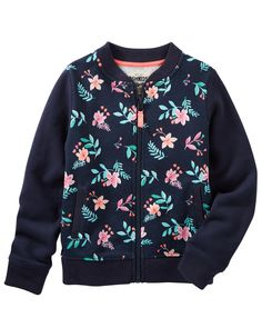 Kid Girl Floral French Terry Bomber Jacket from OshKosh B'gosh. Shop clothing & accessories from a trusted name in kids, toddlers, and baby clothes.