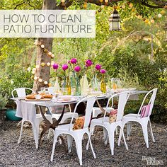 Learn how to clean all types of outdoor and patio furniture. We have directions for cleaning wicker, wood, metal, glass and plastic. Get weather-worn stains, cobwebs and dust off of your outdoor patio furniture so it stays clean and looks great throughout the spring and summer!