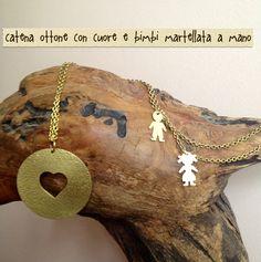 Catena cuore in ottone martellato Www.etsy.com