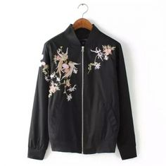 2015 Autumn Black Doudoune Femme Womens Slim Stand Collar Zipper Coats and Jackets with Chinese Embroidery jaqueta feminina Coats For Women, Jackets For Women, Embroidered Bomber Jacket, Embroidery Fashion, Vintage Embroidery, Chinese Embroidery, Floral Embroidery, Elegant, Chinese Style
