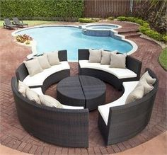 Passionate Outdoor Sectional Sofa for Authentic Wooden Pergola: Awesome Circular Outdoor Sectional Sofa Made Of Rattan With White Cushions A.