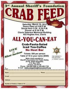 Crab Feed Fundraiser | ... crab feed brief info 3rd annual sheriff foundation crab feed