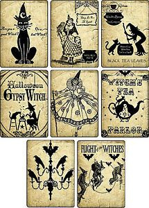 Vintage-images-Halloween-witches-pumpkin-cat-cards-tags-altered-art-set-of-8