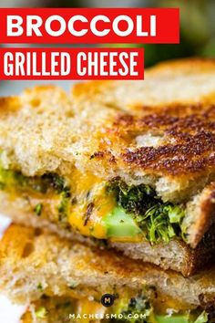 Roasted broccoli florets and spicy peppers chopped and stuffed inside a grilled cheese with gooey cheddar cheese! A classic version done right! macheesmo.com #grilledcheese #broccoli #cheddar Veggie Recipes Healthy, Healthy Cooking, Indian Food Recipes, Vegetarian Recipes, Lunch Recipes, Sandwich Recipes, Soup Recipes, Healthy Food, Recipies