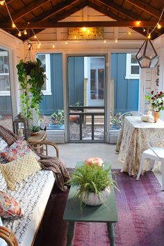 Fall styled screened porch