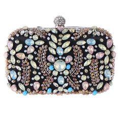 NIB Crystal Evening Bag Clutch Hand Bag made With Swarovski Element Ladder Shape