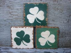 FREE SHIP Rustic Distressed St Patrick's Day Shamrock Clover Wood Sign Set by TheUnpolishedBarn, $29.99