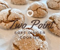Two Point Soft Ginger Cookies - Pound Dropper Ww Desserts, Weight Watchers Desserts, Healthy Desserts, Dessert Recipes, Light Desserts, Drink Recipes, Healthy Meals, Healthy Recipes, Soft Ginger Cookies