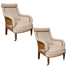 Pair of Napoleon 3rd French Arm Chairs