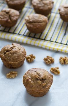 Healthy Banana Muffins made with Greek yogurt and maple syrup.