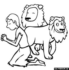 Daniel i the Lions Den Print color cut out and assemble the