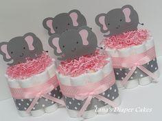 Conjunto de cuatro elefantes de color rosa por LanasDiaperCakeShop