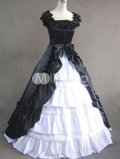 Black And White Manschetten Raffungen vorne Splitting Multi-Layer-Baumwollsatin Classic Lolita Kleid - Milanoo.com