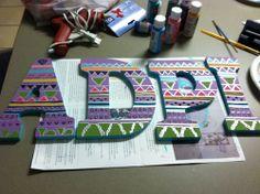 Sorority Craft Room: Tribal Print but with sigma Kappa letters Delta Phi Epsilon, Phi Sigma Sigma, Pi Beta Phi, Alpha Sigma Alpha, Theta, Phi Mu, Delta Zeta, Tribal Letters, Sorority Letters
