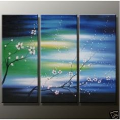 Handmade Modern Abstract Oil Paintings Canvas Art size:12X36=3p