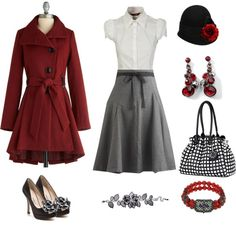 This is such a cute outfit! I absolutely love the skirt, blouse, coat, and the hat!