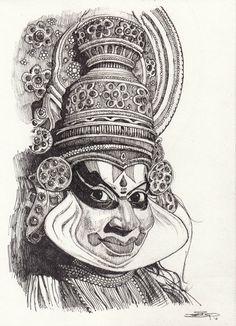 New drawing portrait ideas watercolour ideas Abstract Pencil Drawings, Dark Art Drawings, Art Drawings Sketches, Pencil Art, Kerala Mural Painting, Indian Art Paintings, Acrylic Paintings, Pop Art, Dancing Drawings