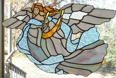 Stained Glass Angel of Tranquility Panel in Blues - Handcrafted in the USA