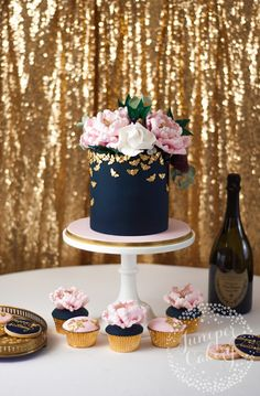 How to put together a dessert table - navy, blush, and gold cake Gender Reveal Party Decorations, Baby Gender Reveal Party, Gold Dessert, Dessert Tables, Cake Table Birthday, 24th Birthday Cake, 40th Cake, Gateau Baby Shower, Navy Baby Showers