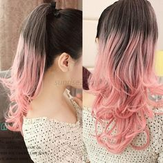 Thick Clip In Ponytail Gradient Hair Extensions Straight Curly Wrap Ponytail White Ombre Hair, Best Ombre Hair, Blond Ombre, Hair Color Pink, Blonde Color, Blonde Highlights, Ombre Color, Pink Hair, Blonde Hair