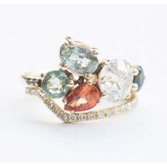Orange Saphire and Diamond Ring