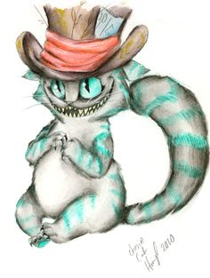 "Just add a ""drink me"" bottle next to him. Alice In Wonderland Mad Cat in a Mad Hat by ~Hennei on deviantART Lewis Carroll, Modelos Pin Up, Chesire Cat, Cheshire Cat Drawing, Alice Madness Returns, Adventures In Wonderland, Wonderland Alice, Through The Looking Glass, Disney Tattoos"