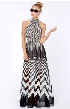 Vestido Longo Listrado - Comprar em Raylim Modas