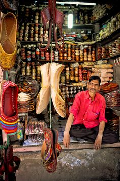 At a shoe shop in Jaipur, Rajasthan