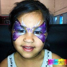 Metallic lilac & purple butterfly face painting Butterfly Face Paint, Purple Butterfly, Girl Face Painting, Glitter Face, Henna Artist, Face Art, Lilac, Metallic, Girly