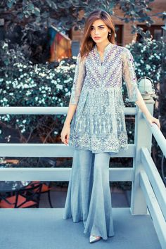 Latest Pakistani Dresses With Bell Bottom Trousers/Pants 2017 | BestStylo.com