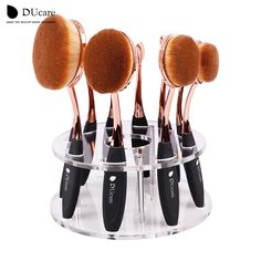 Prix de liquidation!! Ovale maquillage brosses 10 pcs/6 pcs ovale brosse ensemble maquillage pinceaux brosse à dents maquillage brosse Kwasten avec la boîte