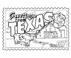 """Could have students color the """"greetings from Texas"""" stamp and glue it on a postcard that they write. The students would write on the postcard, important facts/symbols about Texas that they think are important or cool."""