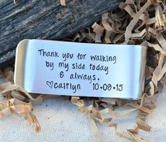 This money clip is dedicated to the Father of the Bride. What a special way to thank dad for being by your side always. Give this to dad at the rehearsal dinner. The price on this money clip is to war