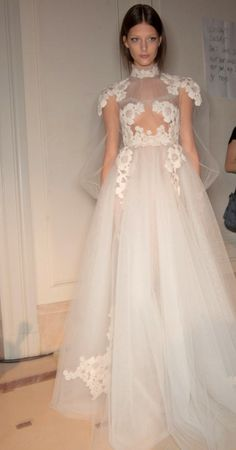valentino spring 2012 haute couture;   love the lace droop over shoulders