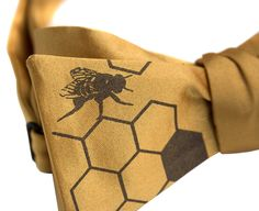 "Honeybee Bow Tie. ""Oh Honey!"" Bee Hive print."