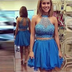 This item is HOT! Two Pieces Halter... click 2 order  http://i-saledresses.myshopify.com/products/two-pieces-halter-blue-short-homecoming-dresses-2017-luxury-sequined-beaded-summer-girls-party-dresses-vestido-renda?utm_campaign=social_autopilot&utm_source=pin&utm_medium=pin   We Ship Internationally!