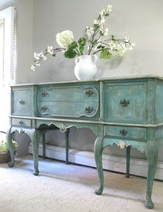Refinishing Furniture- Vintage Hand Painted French Country Cottage Hold great value in a house for its delicate appearance, and its usefulness as storage Distressed Furniture, Shabby Chic Furniture, Vintage Furniture, French Country Cottage, French Country Decorating, Vintage Country, French Decor, Country Chic, French Country Furniture