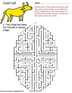 "coloring pages for kids each 10 commandments | Ten Commandments Maze ""Thou shalt not make for yourself a graven image ..."