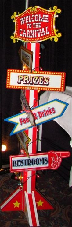 Carnival themed corporate Christmas party event! Isn't the sign awesome?