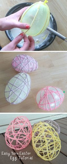 Yarn-Easter-Egg-Tutorial-Easter-Crafts or baby shower Easter Projects, Easter Crafts For Kids, Easter Ideas, Easter Crafts For Preschoolers, Kids Craft Projects, Craft Ideas, Easter Activities For Kids, Easter Stuff, Hoppy Easter
