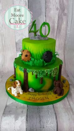Dogs and guinea pigs woodland cake for a 40th birthday!