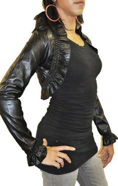 Fashion Victim, Ladies Long Sleeve Faux Leather Bolero Jacket, Shrug in Black, One Size 4-10