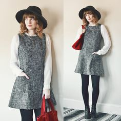 Get this look: http://lb.nu/look/7788550  More looks by Anna .: http://lb.nu/flyingclubhouse  Items in this look:  Thrifted Tweed Pinafore, Red Suede Bag, Light Years Celtic Key Necklace, Ankle Boots, Asos Wide Brim Wool Fedora, Johnny Was White Blouse   #bohemian #chic #classic #tweed #suedebag #pinafore #blacktights #falllook #falloutfit
