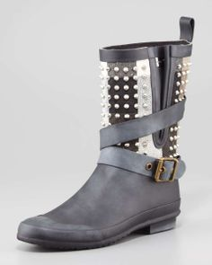 Burberry Rubber Studded-Shaft Short Rainboot | womens boots | womens rainboot | style | fashion | wantering http://www.wantering.com/womens-clothing-item/rubber-studded-shaft-short-rainboot/ad3uG/