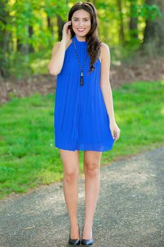 Lana Blue Mock Neck Shift Dress at reddressboutique.com