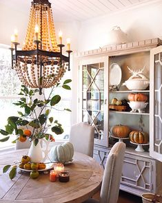 Rustic natural and affordable dining room fall decor. Dining Room Centerpiece, Dining Room Table, Dining Rooms, Dining Area, Room Feng Shui, French Country Decorating, Fall Decorating, Decorating Games, Decorating Websites