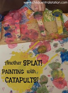 Another SPLAT! More Painting with Catapults! | Child Central Station - Great messy fun- sending paint covered cotton balls flying with our mini catapults!