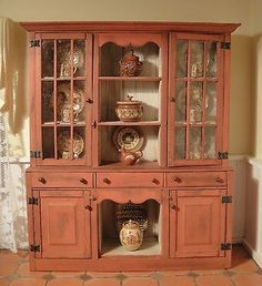 IGMA Artisan Barbara Vajnar's Cupboard Filled with Jane Graber's Redware in Dolls & Bears, Dollhouse Miniatures, Artist Offerings Miniature Furniture, Dollhouse Furniture, Hutch Cabinet, Mini Kitchen, Cupboards, Cabinets, Dollhouse Miniatures, Interior Decorating, Artisan